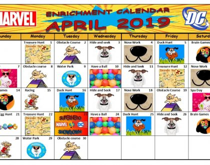 Canine Cabana Enrichment Calendar April 2019