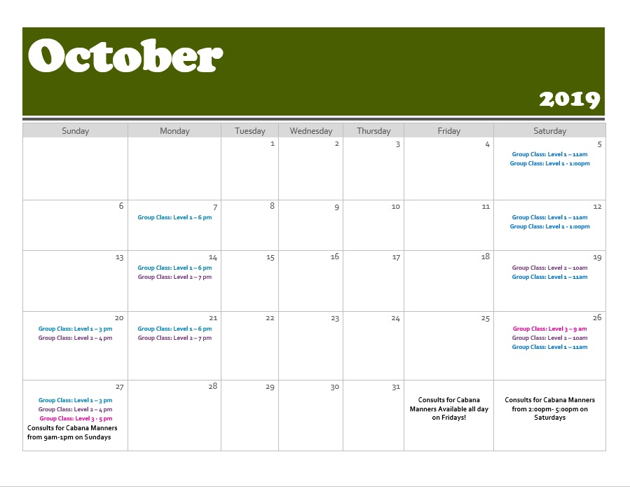 Group Training Calendar | October 2019