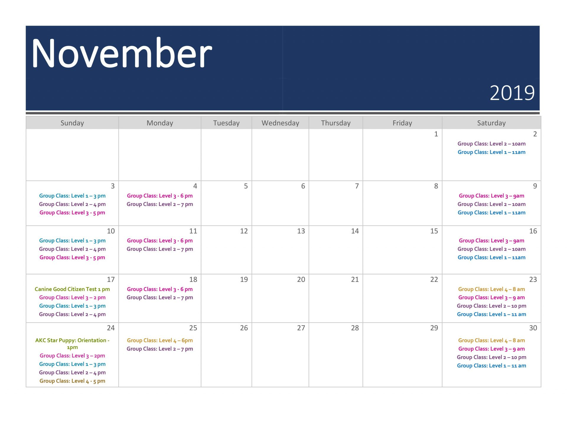 Group Training Calendar | November 2019
