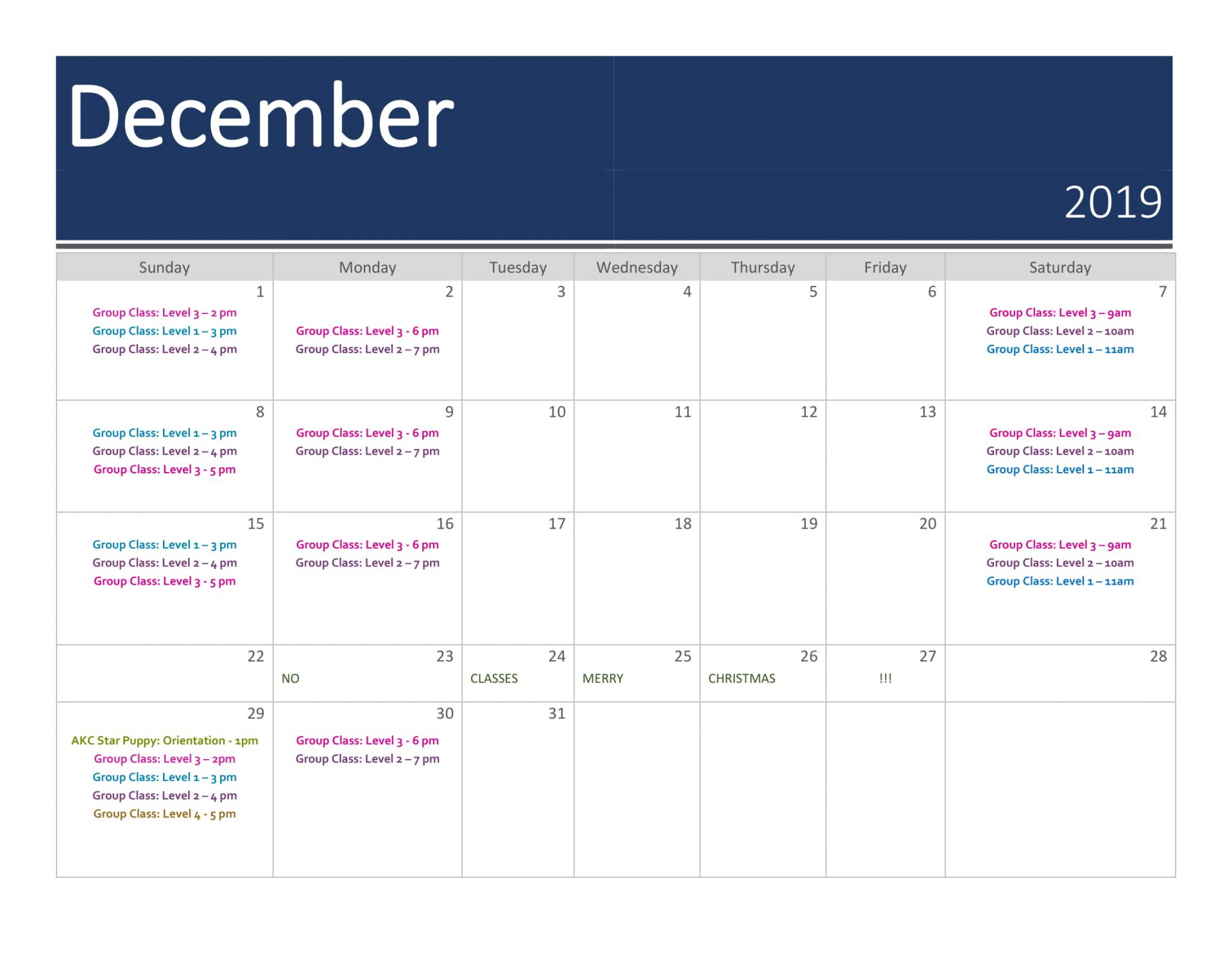 Group Training Calendar | December 2019