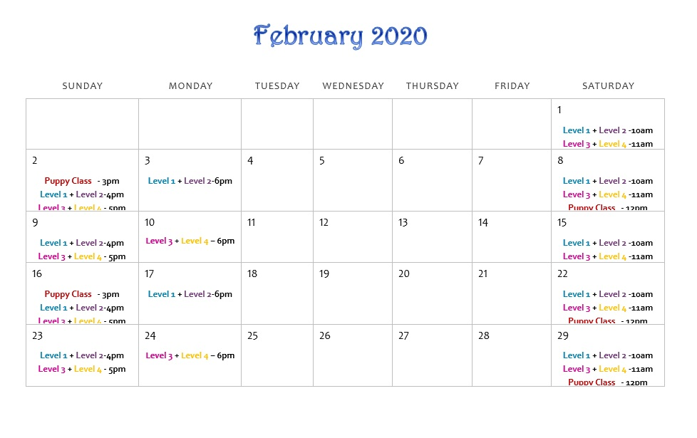 Group Training Calendar | February 2020