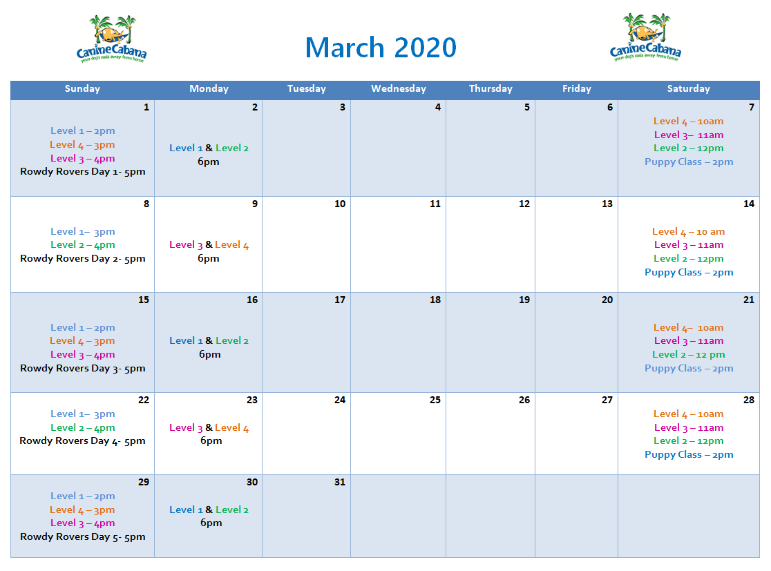 Group Training Calendar | March 2020